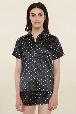 Clovia Black Polka Dot Shorts Set