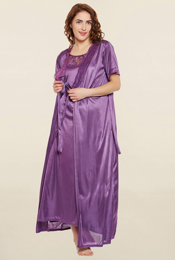 Clovia Purple Solid Nightie With Robe