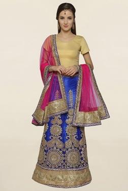 Janasya Beige & Blue Net Semi Stitched Lehenga Choli - Mp000000001681937