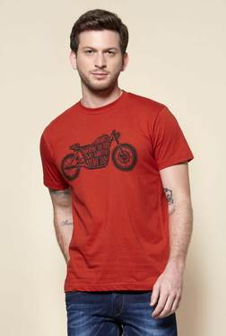 Zudio Rust Crew Neck Regular Fit T-Shirt