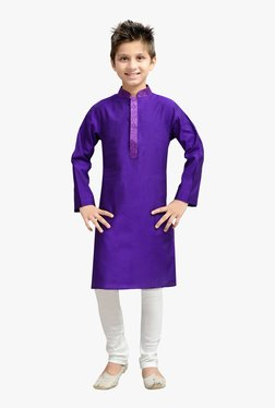 ace94416c06 K U Kids Purple   White Solid Kurta   Churidar