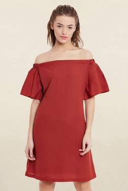 Miss Chase Brick Red Loose Fit Dress