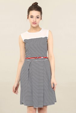 Miss Chase Black & White Striped Dress