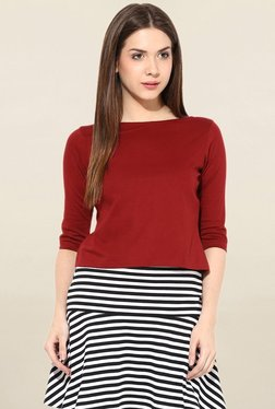 Miss Chase Maroon Solid Top - Mp000000001695085