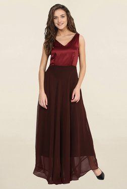 Miss Chase Maroon & Brown Relaxed Fit Dress