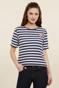 Miss Chase Navy & White Striped Top