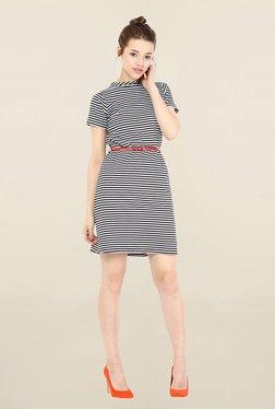Miss Chase Black & White Striped Dress