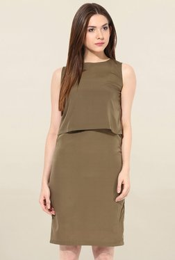 Miss Chase Olive Relaxed Fit Dress