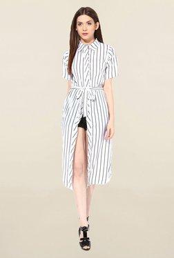 Miss Chase White & Black Striped Dress