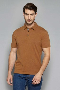 Ascot By Westside Brown Slim Fit Polo T-Shirt