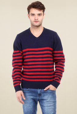 Red Tape Red & Navy Full Sleeves Sweater