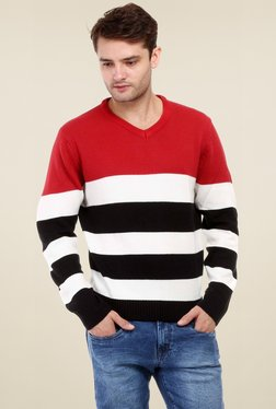 Red Tape Red & White Full Sleeves Sweater