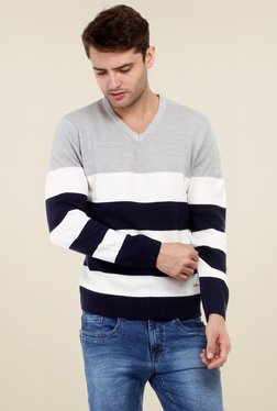 Red Tape Grey & White Striped Full Sleeves Striped Sweater