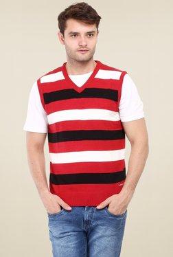 Red Tape Red & White Sleeveless Sweater