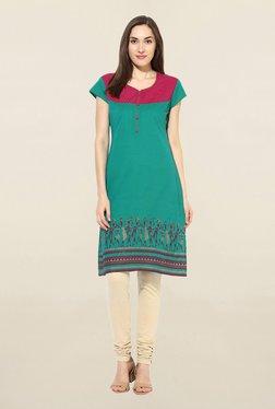 Mytri Green Printed South Cotton Kurta