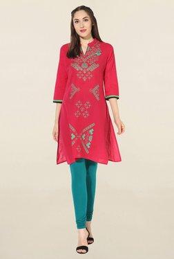 Mytri Pink Printed South Cotton Kurta