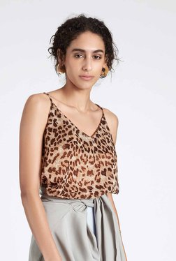 TheLabelLife Brown Animal Print Cami Top