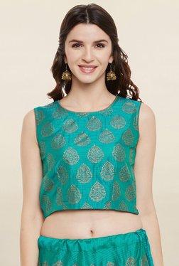 9rasa Teal Printed Faux Munga Silk Crop Top