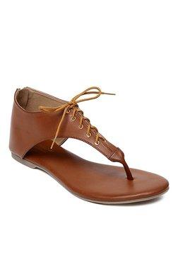 Monrow Cochella Dark Tan T-Strap Sandals