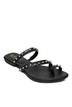 Monrow Nadia Pearl Black Toe Ring Sandals