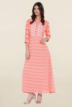 Shree Peach Embroidered Kurta