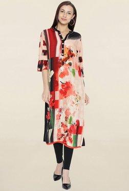 Shree Red & Beige Floral Print Kurta