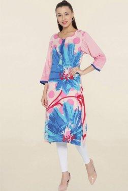Shree Pink & Blue Floral Print Kurta