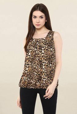 Mayra Brown Animal Print Top