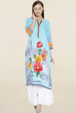 Shree Blue Floral Print Kurta