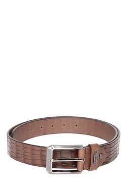 Red Tape Coffee Brown Textured Leather Belt