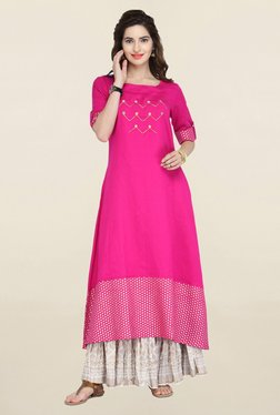 Varanga Pink & White Embroidered Kurta With Skirt