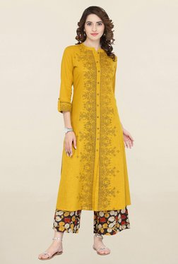 Varanga Mustard & Black Printed Kurta With Palazzo - Mp000000001706404