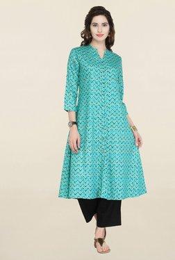 Varanga Blue Printed Cotton Kurta