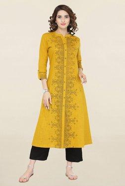 Varanga Mustard Printed Cotton Kurta