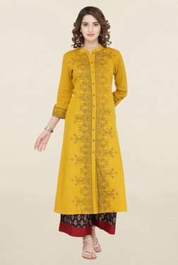 Varanga Mustard & Black Printed Kurta With Palazzo - Mp000000001706461