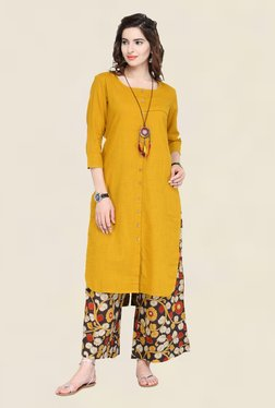 Varanga Mustard & Black Solid Kurta With Palazzo - Mp000000001707082