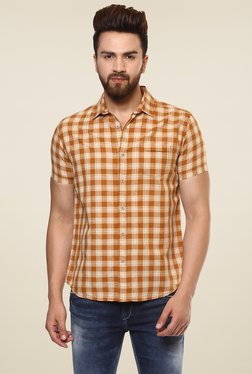 Mufti Brown & Beige Half Sleeves Checks Shirt