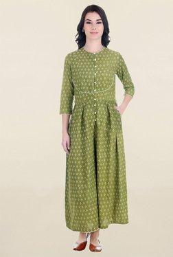 ANS Olive Printed Jumpsuit
