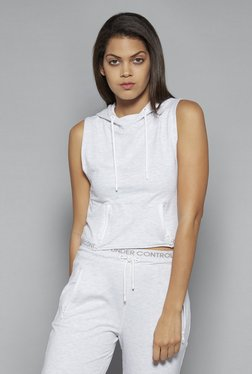 Studiofit By Westside Grey Zip Crop T Shirt
