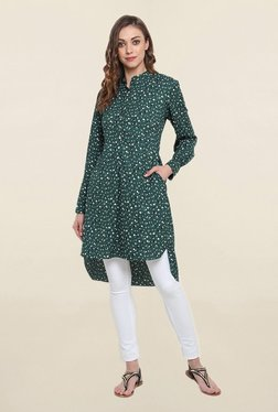 Suthidori Green Printed Straight Kurta