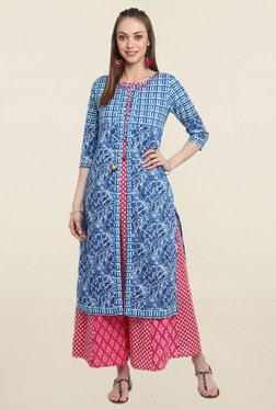 Suthidori Blue Printed Straight Kurta