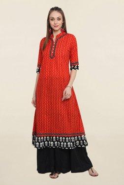 Suthidori Red Printed Straight Kurta