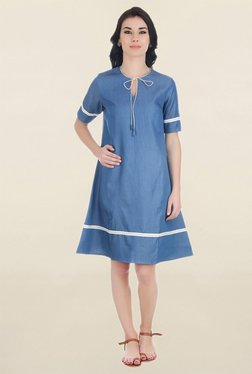 ANS Blue Knee-Length Dress