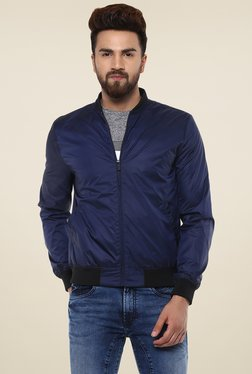 77a1c0b8563 Mufti Royal Blue Full Sleeves Slim Fit Bomber Jacket