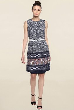 Color Cocktail Navy Printed Dress With White Belt