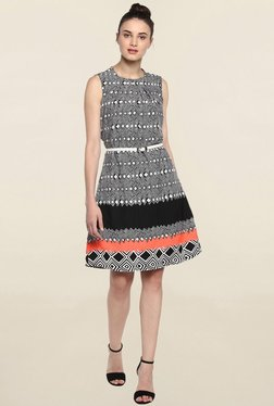 Color Cocktail Black Printed Dress With White Belt - Mp000000001708806