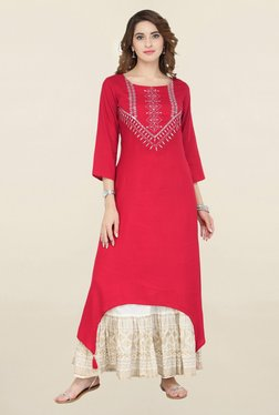 Varanga Red & White Embroidered Kurta With Skirt