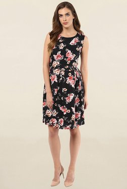 Color Cocktail Black Floral Print Knee Length Dress