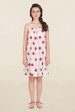 ANS White & Red Polka Dot Knee-Length Dress