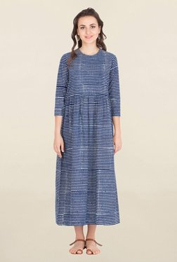 ANS Navy Stripes Midi Dress